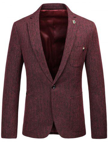 Store Lapel Collar One Button Space Dyed Blazer - 3XL WINE RED Mobile