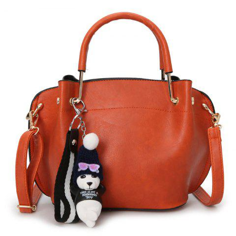Latest Faux Leather Metal Handle Tote Bag - DEEP ORANGE  Mobile