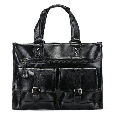Affordable Faux Leather Double Buckle Straps Tote Bag - BLACK  Mobile