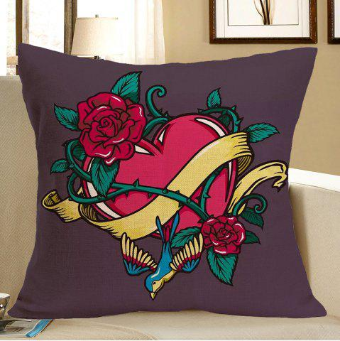 Latest Flower Twining Heart Printed Throw Pillow Case