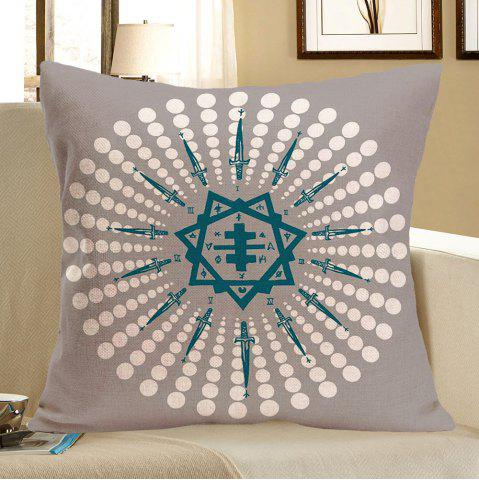 Hot Polka Dot Clock Face Printed Pillow Case - W18 INCH * L18 INCH GRAY Mobile