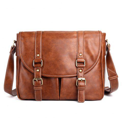 Outfit Double Buckle Straps Faux Leather Messenger Bag - BROWN  Mobile