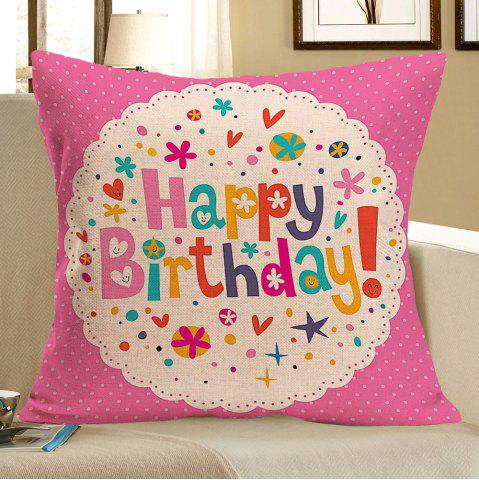 Fashion Linen Happy Birthday Printed Pillow Case COLORFUL W18 INCH * L18 INCH