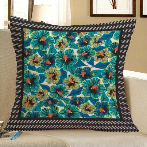 Trendy Linen Home Decor Tiny Flowers Pattern Pillow Case BLUE W18 INCH * L18 INCH