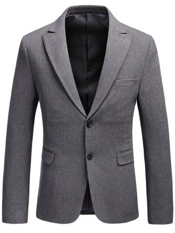 Online Lapel Single Breasted Flap Pocket Business Blazer - 3XL GRAY Mobile