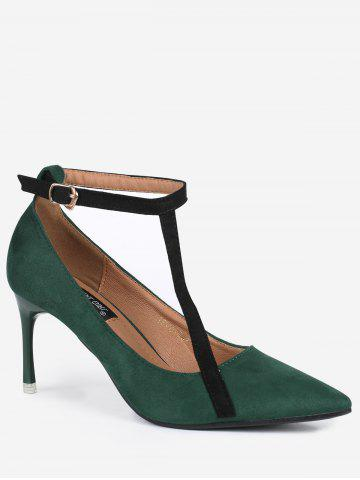 New Mini Heel Pointed Toe Ankle Strap Pumps - 37 GREEN Mobile
