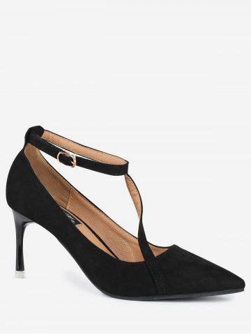 Latest Mini Heel Pointed Toe Ankle Strap Pumps - 39 BLACK Mobile