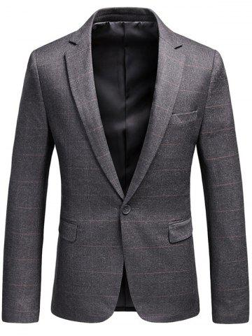 Outfit Lapel One Button Checked Blazer - 3XL GRAY Mobile
