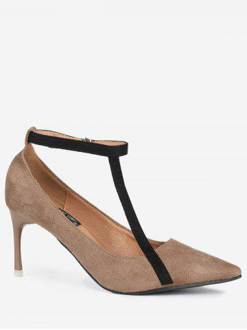 Outfit Mini Heel Pointed Toe Ankle Strap Pumps BROWN 39