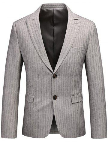 New Lapel Single Breasted Vertical Stripes Blazer - XL GRAY Mobile