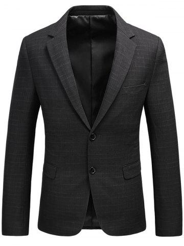 Flap Pocket Single Breasted Heathered Blazer Noir XL