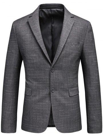 Best Flap Pocket Single Breasted Heathered Blazer - 3XL GRAY Mobile
