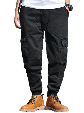 Best Pockets Zip Fly Beam Feet Cargo Pants BLACK 32