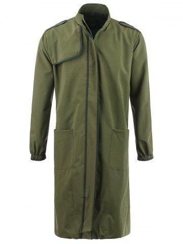 Affordable Cover Placket Zip Up Lightweight Coat - M ARMY GREEN Mobile