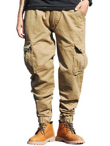 Sale Pockets Zip Fly Beam Feet Cargo Pants KHAKI 38