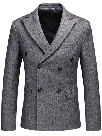 Shops Vertical Stripes Lapel Double Breasted Blazer GRAY L
