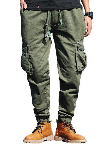 Affordable Beam Feet Drawstring Zip Fly Cargo Pants - 32 ARMY GREEN Mobile