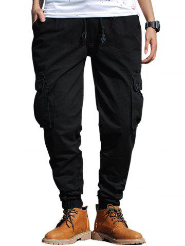 Affordable Beam Feet Drawstring Zip Fly Cargo Pants BLACK 40