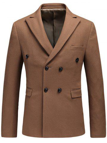 Online Lapel Flap Pocket Double Breasted Blazer BROWN L