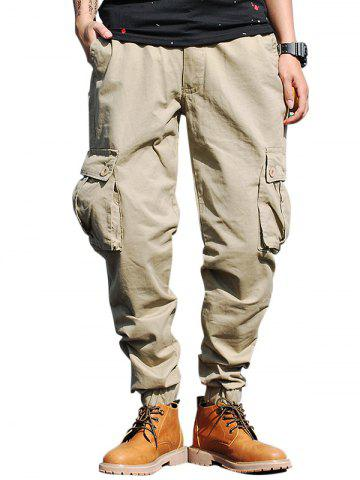Buy Beam Feet Drawstring Zip Fly Cargo Pants KHAKI 40