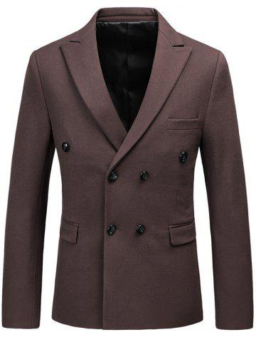 Lapel Flap Pocket Double Breasted Blazer Café 3XL