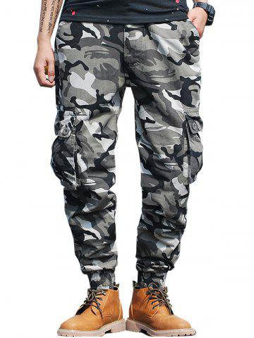 New Beam Feet Flap Pockets Camo Cargo Pants GRAY 38
