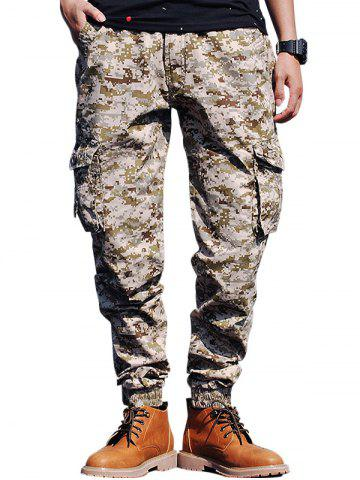 Sale Beam Feet Flap Pockets Camouflage Cargo Pants - 32 YELLOW Mobile