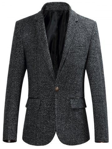 Trendy One Button Lapel Collar Heathered Blazer - L DEEP GRAY Mobile