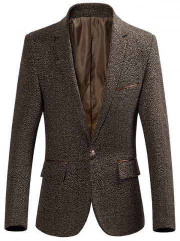 Unique One Button Lapel Collar Heathered Blazer KHAKI 3XL