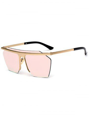 Sale Semi Rimless Metallic Pilot Mirror Sunglasses - PINK  Mobile