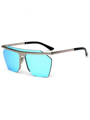 Fashion Semi Rimless Metallic Pilot Mirror Sunglasses