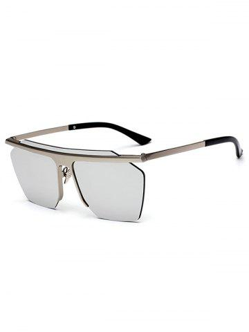 Store Semi Rimless Metallic Pilot Mirror Sunglasses
