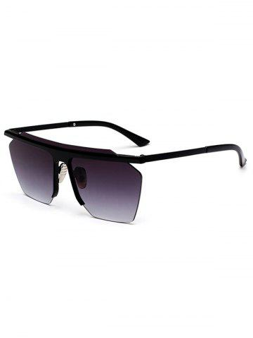 Affordable Semi Rimless Metallic Pilot Mirror Sunglasses BLACK