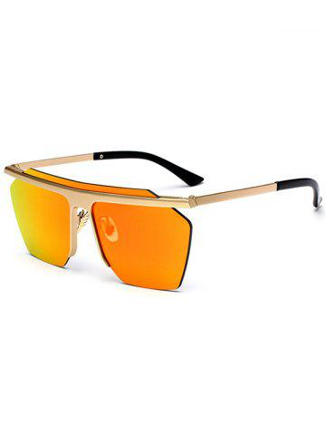 Fancy Semi Rimless Metallic Pilot Mirror Sunglasses - ORANGE  Mobile