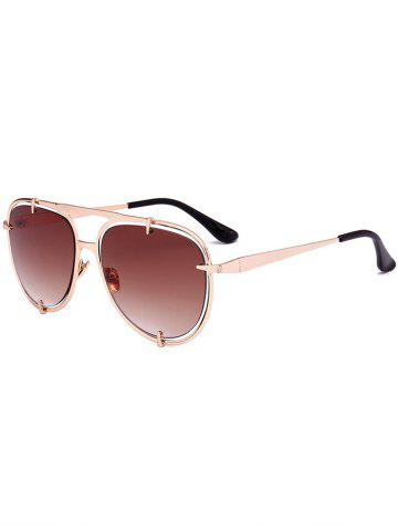 Outfits Metallic Insert Pilot Mirror Sunglasses - BROWN  Mobile