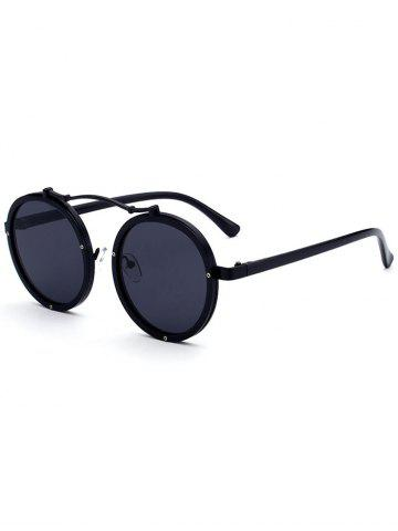 Fancy Metallic Double Rims Rounded Mirror Sunglasses DOUBLE BLACK
