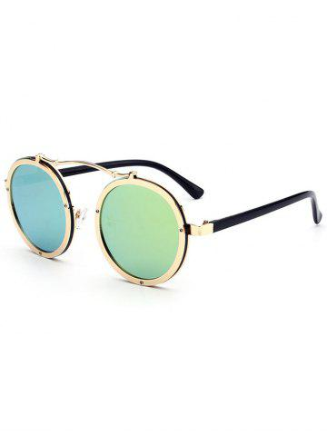 Cheap Metallic Double Rims Rounded Mirror Sunglasses - GREEN  Mobile