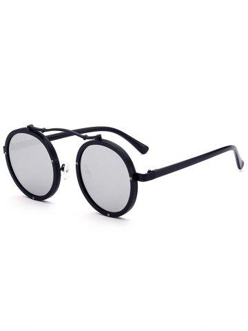 Sale Metallic Double Rims Rounded Mirror Sunglasses