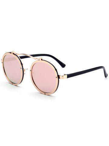Chic Metallic Double Rims Rounded Mirror Sunglasses - GOLD FRAME + PINK LENS  Mobile