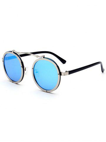 Discount Metallic Double Rims Rounded Mirror Sunglasses - ICE BLUE  Mobile