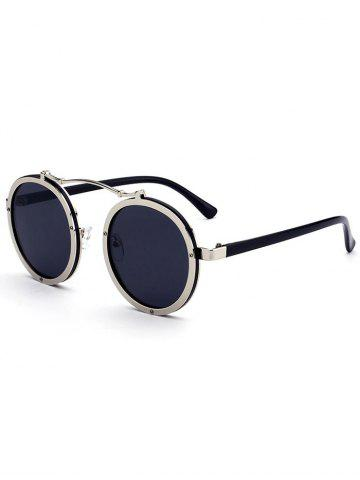 Affordable Metallic Double Rims Rounded Mirror Sunglasses SILVER FRAME + BLACK LENS