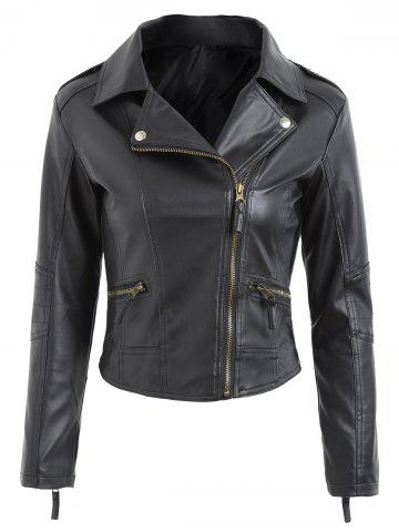 Shops Zipper Fly Faux Leather Biker Jacket BLACK XL