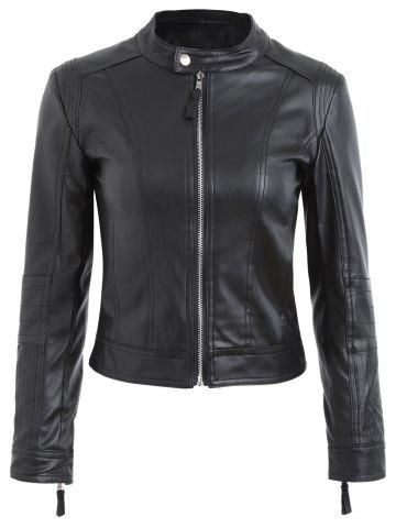 Cheap Faux Leather Biker Jacket - M BLACK Mobile