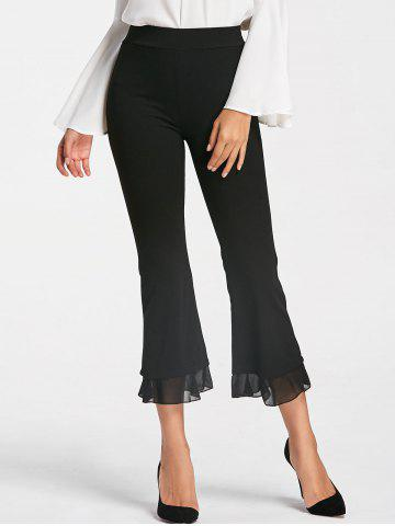 Chic High Waisted Bell Bottom Ninth Pants - M BLACK Mobile