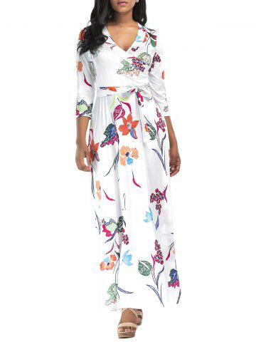 Chic Flower Printed Surplice Maxi Dress - M WHITE Mobile