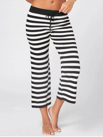 Outfits Knit Striped Wide Leg Lounge Pants WHITE AND BLACK ONE SIZE