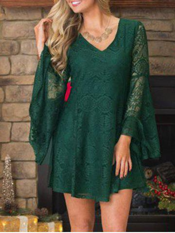 Affordable Christmas Lace Swing Dress with Flare Sleeve BLACKISH GREEN L
