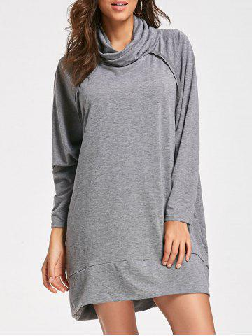 Shop Casual Mock Neck Long Sleeve Dress - S GRAY Mobile