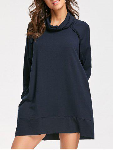 Cheap Casual Mock Neck Long Sleeve Dress - L CADETBLUE Mobile