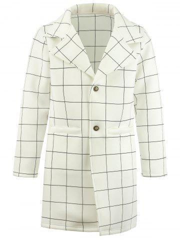 Shops Single Breasted Checked Longline Coat WHITE M